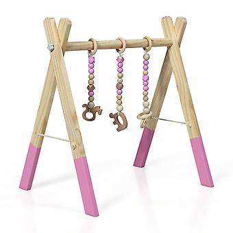 Baby Foldable Wooden Play Activity Gym 3 Theething Toys Stand Nursery Hanging