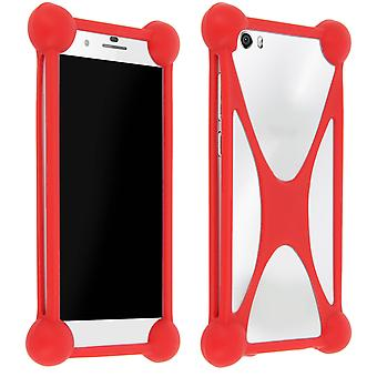 Mocca universele siliconen beschermhoes smartphone rood
