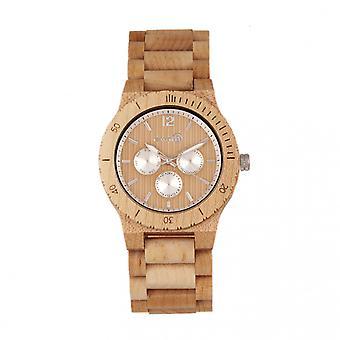 Earth Wood Bonsai Bracelet Watch w/Day/Date - Khaki-Tan