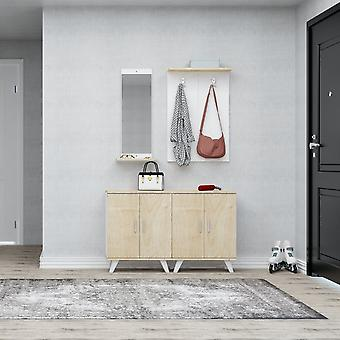 Mobiler Eingang Necef Color Oak, Weiß in Chip, Kunststoff, Metall 30x12x90 cm, 60x17x90 cm, 60x35x76 cm