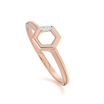 Diamond Hexagon Open Ring in 9ct Rose Gold 191R0906019
