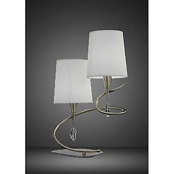 Table Lamp Mara 2 Bulbs E14, Antique Brass With Ivory White Lampshades