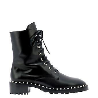 Stuart Weitzman Alliesmoblk Women's Black Leather Ankle Boots