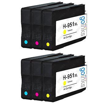 2 kompatible sæt med 3 C/M/Y HP 951 (HP951XL) printerblækpatroner (farvesæt)
