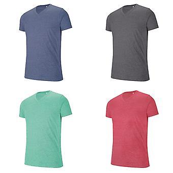 Kariban Mens V Neck Short Sleeve Melange T-Shirt