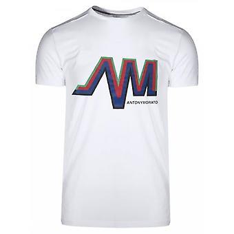 Antony Morato esporte tripulação pescoço branco AM logo T-shirt