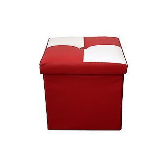 Rebecca Mobili Puff Sgabello Baule Bianco Rosso Cubo Design Moderno 30x30x30
