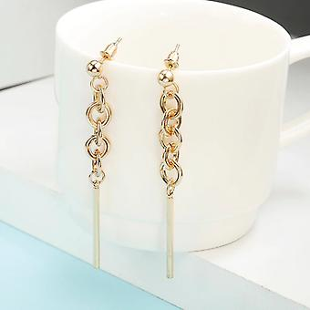 Interlinked Circles and Rod Drop Earrings - Gold