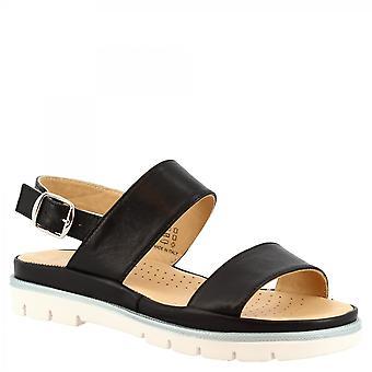 Leonardo Schuhe Frauen's handgemachte flache Sandalen aus schwarzem Kalbsleder mit Schnalle Verschluss