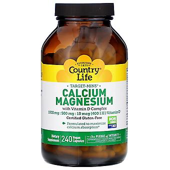 Country Life, Target-Mins Calcium Magnesium met vitamine D Complex, 240 Vegan Ca