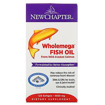 New Chapter, Wholemega Fish Oil, From Wild Alaskan Salmon, 1,000 mg, 120 Softgel