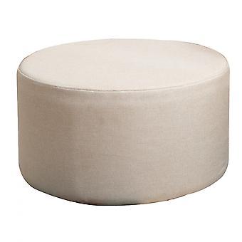 Rebecca huonekalut pouf footy tasainen pyöreä beige vintage kangas 25x45x45
