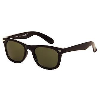 Solbriller Unisex svart med grønn linse (044 P)