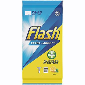 Flash Extra Large Anti-Bacterial Lemon Wipes