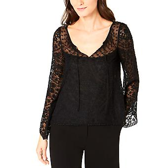 Nanette Lepore | Embroidered Bell Sleeve Scoop Neck Top