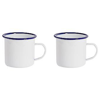 Argon Geschirr Premium weiß Emaille Tee / Kaffeebecher - 380ml - blau Trim - Packung mit 2