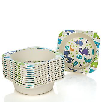 Tiny Dining Children's Bamboo Fibre Dining Bowl - Dinosaur - Pack de 12