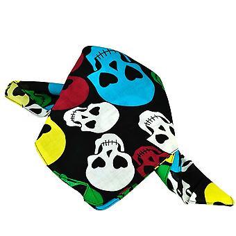 Ties Planet Black With Colourful Skulls Bandana Neckerchief