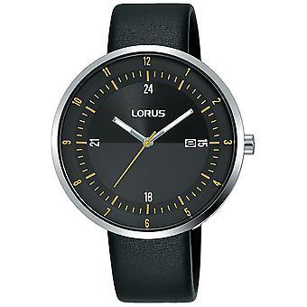 Lorus Herren Kleid Uhr mit großen schlanken Zifferblatt & schwarz Lederarmband (RH957LX9)