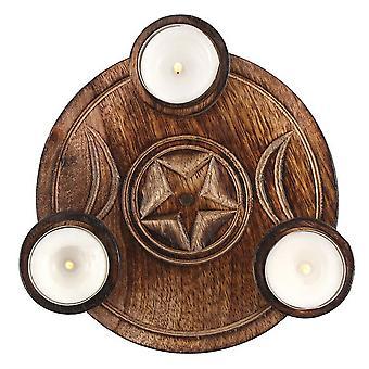 ثلاثي القمر الشاي شمعة خفيفة حامل