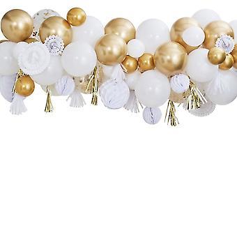 Gold Streamer globo guirnalda fiesta telón de fondo Kit 80 globos