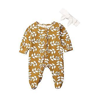 Baby s dlhým rukávom kvetinové romper elegantné volánik bavlnené kombinézy oblečenie