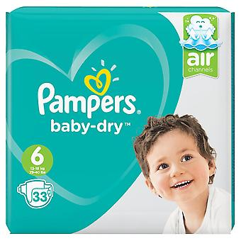 1 x 33 Nappies 6 Baby Pampers Dry Diapers Todler 13-18kg Strong Breathable