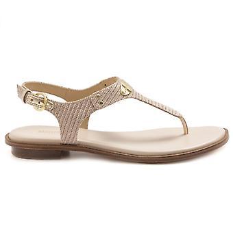 Michael Kors Plate String Gold Fabric Flip Flops Sandale