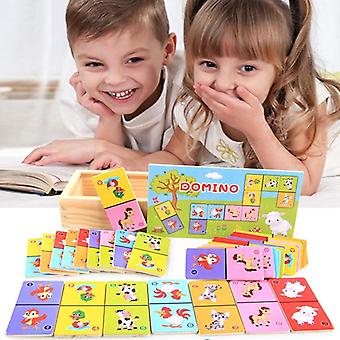 Children's Cognitive Animal Solitaire Dominoes Board Game, Early Learning