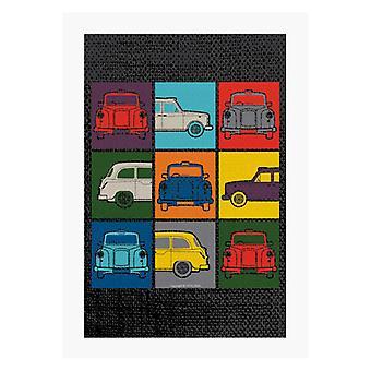 London Taxi Company Colourful Angles A4 Print