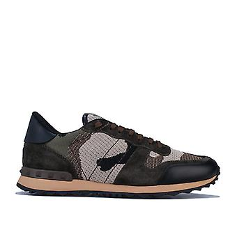 Men's Valentino Mesh Camo Rockrunner Trainers in Green
