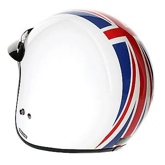 Stealth HD320 Union Jack Motorcycle Helmet White Blue Red Open Face with Peak