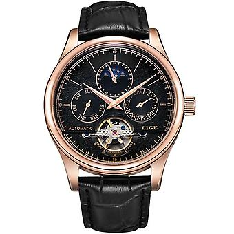 Automatische mechanische Tourbillon Sport Clock Leather Casual Business Polshorloge