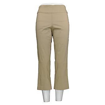 Martha Stewart Women's Pants Stretch Twill Crop W/ Back Slits Beige A309318