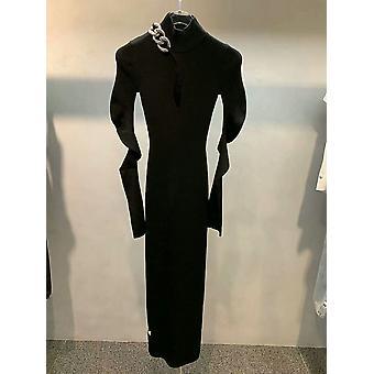 Chain Decoration Temperament High Neck, Slim Knit, Mid-length Dress