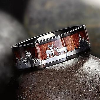Tungstênio Hunting Ring Wedding Band Wood Inlay Deer Stag Silhueta