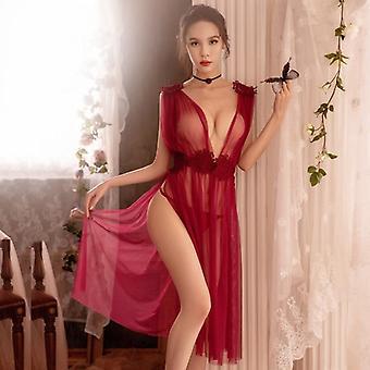 مثير الملابس الداخلية إغراء شبكة Nightdress رقيقة القسم الخامس الرقبة الدانتيل حزام