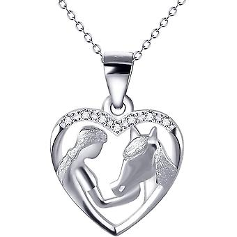 YFN Sterling Silver/Rose Gold Plated Horse and Girl Pendant Necklace