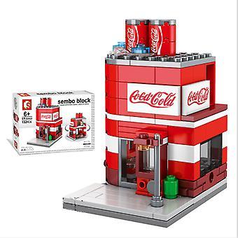 سيتي ستريت كوكا كولا مخزن لبنات بناء نموذج لعبة للأطفال هدية صغيرة،