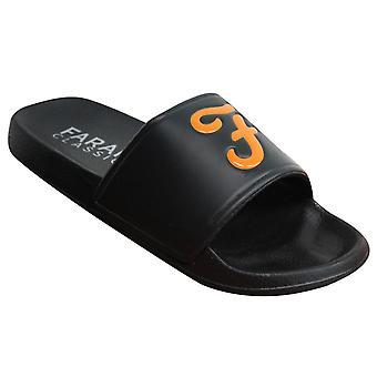 Farah Classic Wave Slip On Black Synthetic Mens Sliders FAR0113 095 X47B