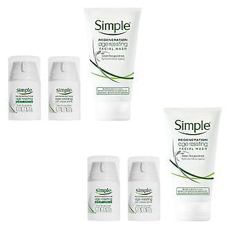 Simple Regeneration Age Resisting Night Cream, Day Cream and Facial Wash, 2PK