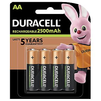 Duracell aa 2500mah recharge ultra rechargeable batteries - pack of 4 - pre charged/stay starged rep