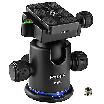 """Phot-r 360° panoramic camera tripod ball head ¼"""" arca-swiss quick release shoe plate & bubble sp"""