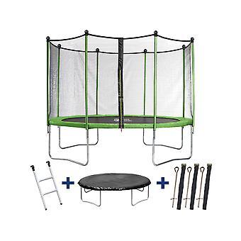 """Trampoline / Trampoline """"Yoopi"""" - Ø 4,25 m - met net + ladder + beschermhoes + verankeringsset"""