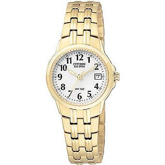 Citizen Ew1542-59a Damski eco-drive Sylwetka Pozłacany zegarek ze stali nierdzewnej