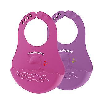 Baby Silicone Bibs Easily Clean Set Of 2,waterproof Adjustable Snaps Baby Bibs