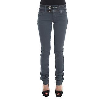 Galliano Blue Cotton Blend Slim Fit High Waist Jeans