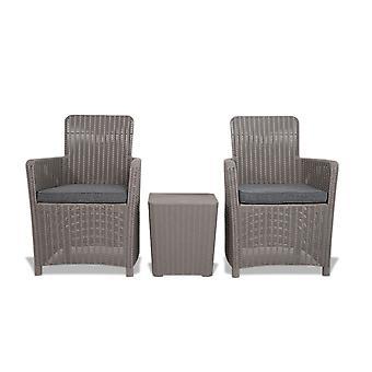 Outdoor Rattan Effect Storage Table & 2 Chairs Garden Patio Furniture Bistro Set