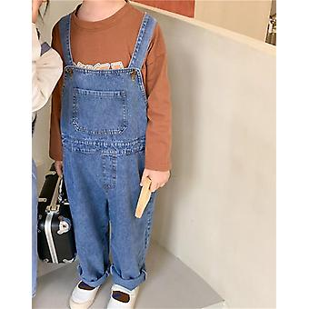 Spring Kids Casual Denim Overall Dress, Loose Clothing