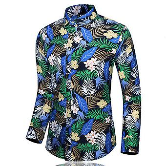 New Men's Casual And Handsome Printing Oversized Long-sleeved Floral Shirt